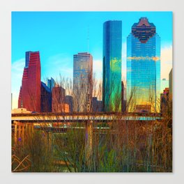 City Skyline Downtown Houston in Color 1x1 Canvas Print