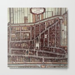 Replica city map of Delft 1649 Metal Print