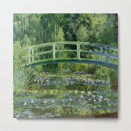 Claude Monet's Water Lilies and Japanese Bridge Metal Print