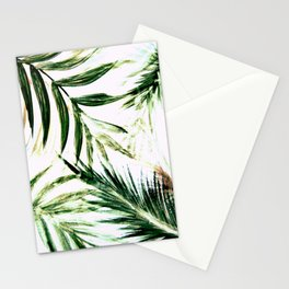 white green palm tree leaves tropical print Stationery Cards