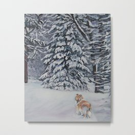 Beautiful Rough Collie Dog in the Snow Painting from an original painting by L.A.Shepard Metal Print