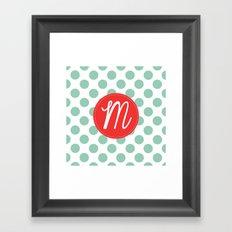 Monogram Initial M Polka Dot Framed Art Print