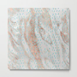 Rose gold metal marble with glitter aqua blue raindrops Metal Print