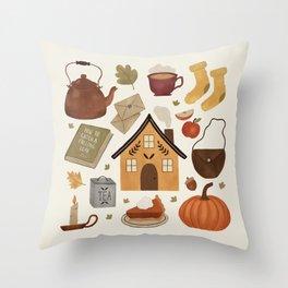 Autumn Cottage Days Throw Pillow