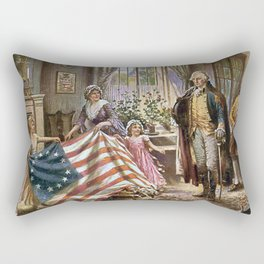 Edward percy moran: the birth of old glory Or Betsy Ross and Washington Rectangular Pillow