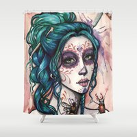 day of the dead Shower Curtains featuring Day of the Dead by Mortimer Sparrow