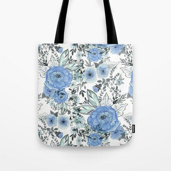 Watercolor . Sky-blue flowers . Tote Bag
