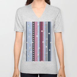 fun star linear colorful pattern cute design Unisex V-Neck