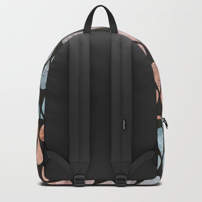 Iridescent raindrops rainbow black gradient Backpack
