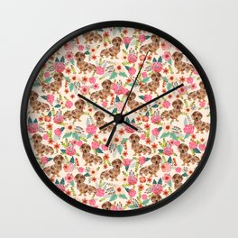 Dapple cream Dachshund doxie floral florals dog breed gifts for pupper must haves Wall Clock