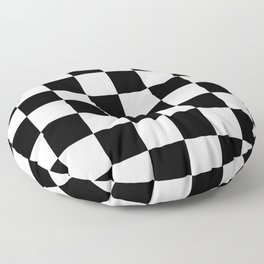 Contemporary Black & White Gingham Pattern Floor Pillow