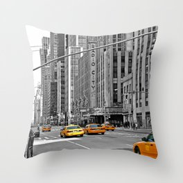 NYC - Yellow Cabs - Music Throw Pillow