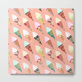 Mandala ice cream | misty rose Metal Print