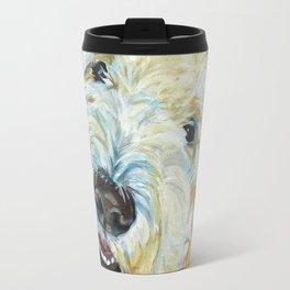 Stanley the Goldendoodle Dog Portrait Travel Mug