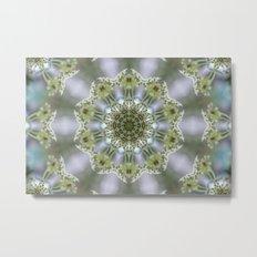 White Kaleidoscope Flower Metal Print