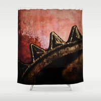 industrial Shower Curtains featuring Industrial Sunset by Bella Blue Photography