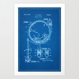 1963 Motorized Unicycle Patent - Blueprint Style Art Print