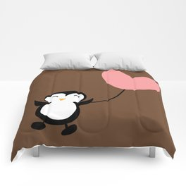 Penguin in love Brown Comforters