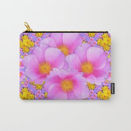 Pink-lilac Wild Ross Yellow Floral Art Carry-All Pouch