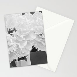 Peony Drama ~ B&W Accented Edges Stationery Cards