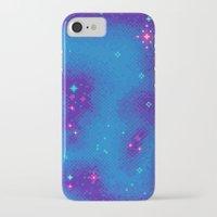 8bit iPhone & iPod Cases featuring Indigo Nebula (8bit) by Sarajea