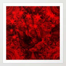 Butterfly and fractal in black and blood red Art Print
