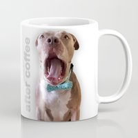 pit bull Mugs featuring Pit bull singing for coffee by The Velvet Burritos