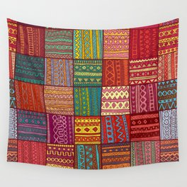 Tribal Boho Hippie Patchwork Wall Tapestry
