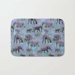 Sweet Elephants in Purple and Grey Bath Mat