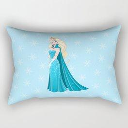 Snow Princess In Blue Dress Side Rectangular Pillow