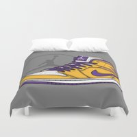 lakers Duvet Covers featuring Jordan 1 mid (LA Lakers) by Pancho the Macho