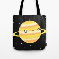 saturn Tote Bags featuring Saturn by Sarah Crosby