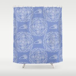 Hand drawn vector cloud and sun mandala illustration. Shower Curtain