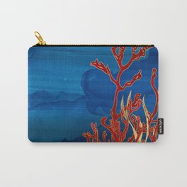 Red Coral and Gold Abstract Carry-All Pouch