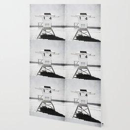 Black and White Beach Photography, Grey Lifeguard Stand, Gray Coastal Nautical Art Wallpaper