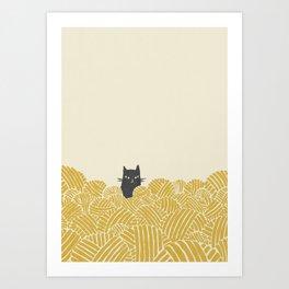 Cat and Yarn Art Print