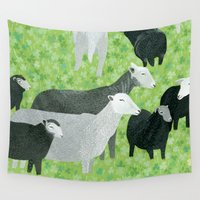 sheep Wall Tapestries featuring Sheep by Yuliya
