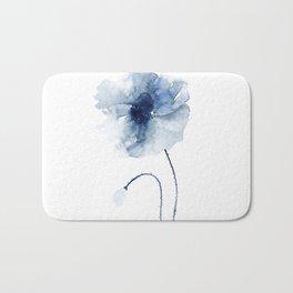 Blue Watercolor Poppies #2 Bath Mat