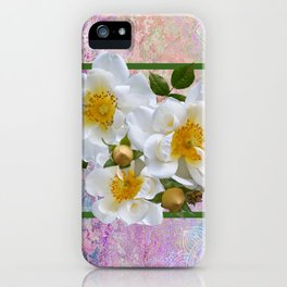 White Flowers with Inset iPhone Case