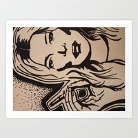 kate moss Art Prints featuring Kate Moss by Brianna Benson