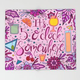 It's 5 O'Clock Somewhere Pink Palette | Happy Hour | Party | Celebrate Throw Blanket