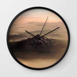 The West is Burning - Mt Shasta - nature photography Wall Clock