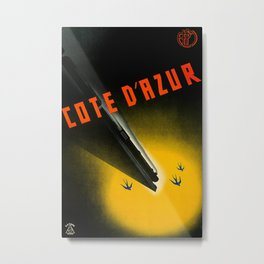 Cote de Azur Vintage Travel Poster Metal Print