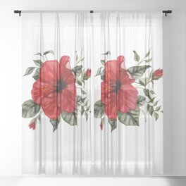 Blooming Red Hibiscus Sheer Curtain
