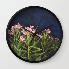 Oleander_Oil on wood Wall Clock