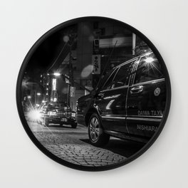 A Row of Tokyo Taxis Wall Clock