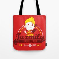 league Tote Bags featuring Tazmily little league by TeeKetch