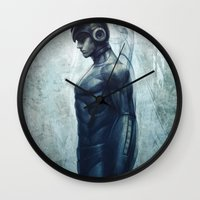 mega man Wall Clocks featuring Mega Real Man by Artgerm™