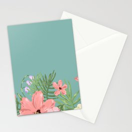 Turquoise Flower Stationery Cards