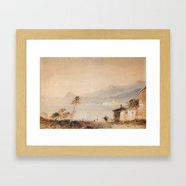 Edward Tucker (1848-1909) Northern Italian lake scene Framed Art Print